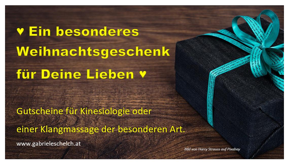 Weihnachtsgeschenk Gutscheine für Kinesiologie oder Klangmassage als Geschenk für Ihre Lieben